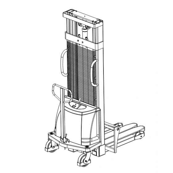 Poloelektrický vysokozdvižný vozík 1,0t 2,5m CDD10B-E25 s posuvnými vidlemi
