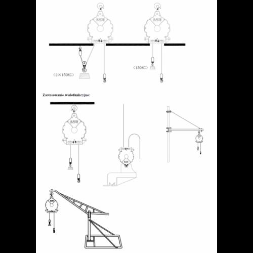 Elektrický lanový zvedák 150kg 20m BLND-YT-HPE150